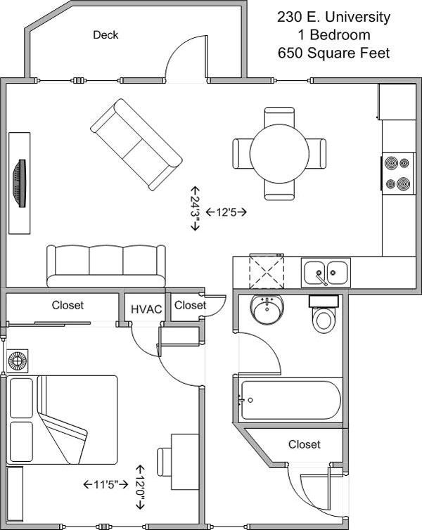1 Bedroom 1 Bathroom Apartment for rent at 230 E University in Cincinnati, OH