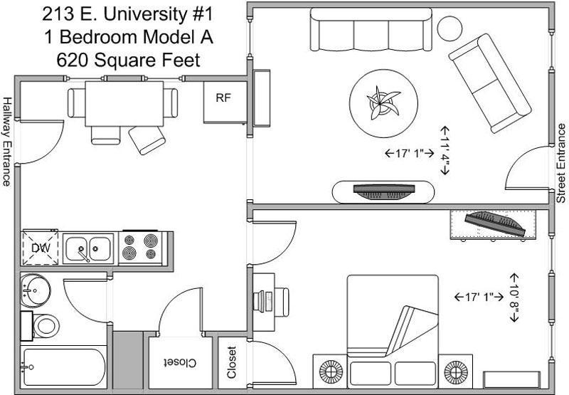 1 Bedroom 1 Bathroom Apartment for rent at 213-215 E University in Cincinnati, OH