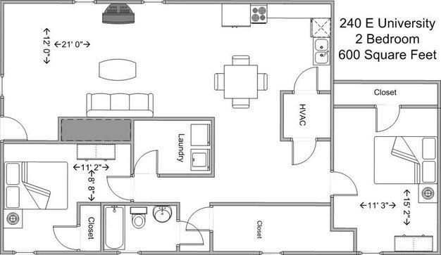 2 Bedrooms 1 Bathroom Apartment for rent at 240 E University in Cincinnati, OH
