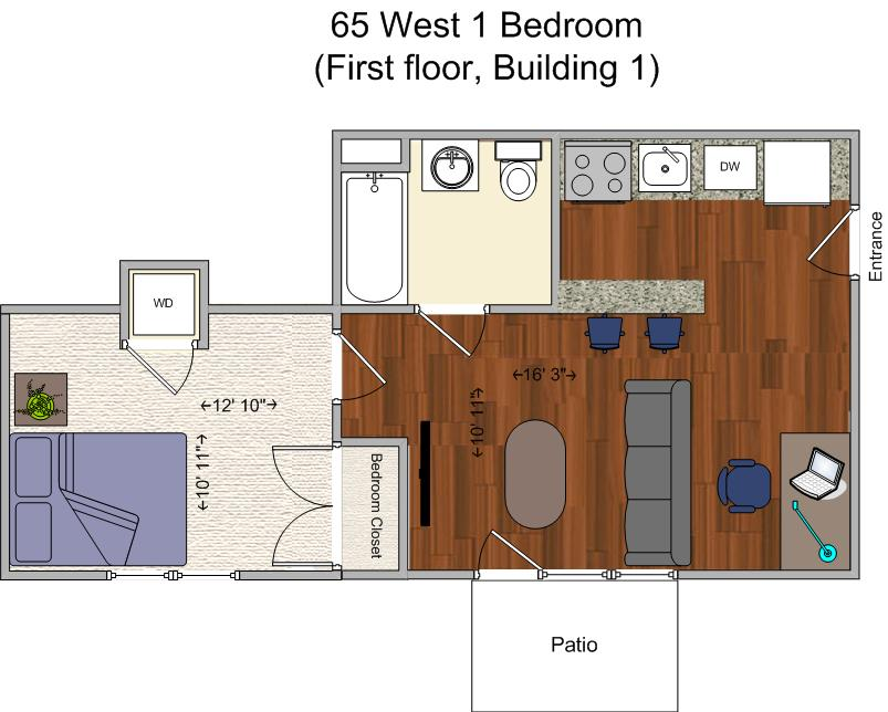 1 Bedroom 1 Bathroom Apartment for rent at 65 West in Cincinnati, OH