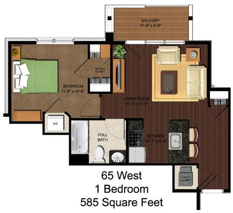 1 Bedroom 1 Bathroom Apartment for rent at 65 West in Cincinnati, OH