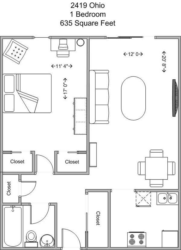 1 Bedroom 1 Bathroom Apartment for rent at 2419 Ohio in Cincinnati, OH