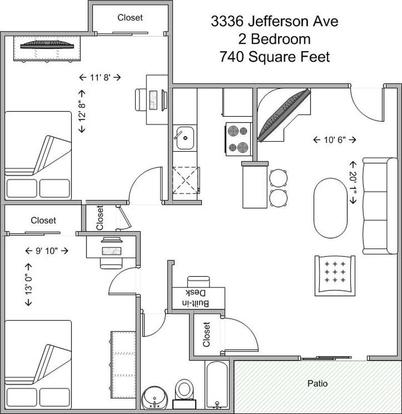 2 Bedrooms 1 Bathroom Apartment for rent at 3336 Jefferson in Cincinnati, OH