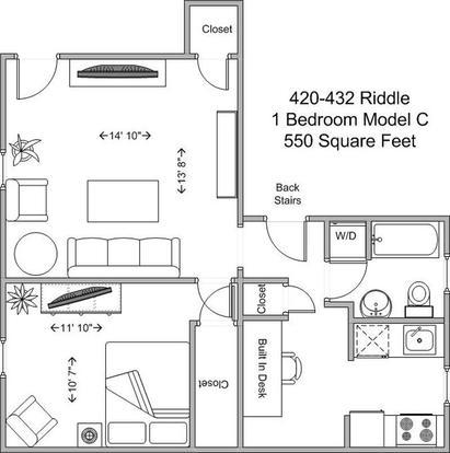 1 Bedroom 1 Bathroom Apartment for rent at 420-424 Riddle in Cincinnati, OH