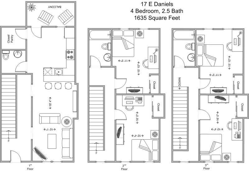 4 Bedrooms 3 Bathrooms Apartment for rent at 17-23 E Daniels in Cincinnati, OH
