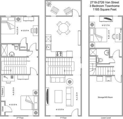 3 Bedrooms 2 Bathrooms Apartment for rent at Van Street Townhomes in Cincinnati, OH