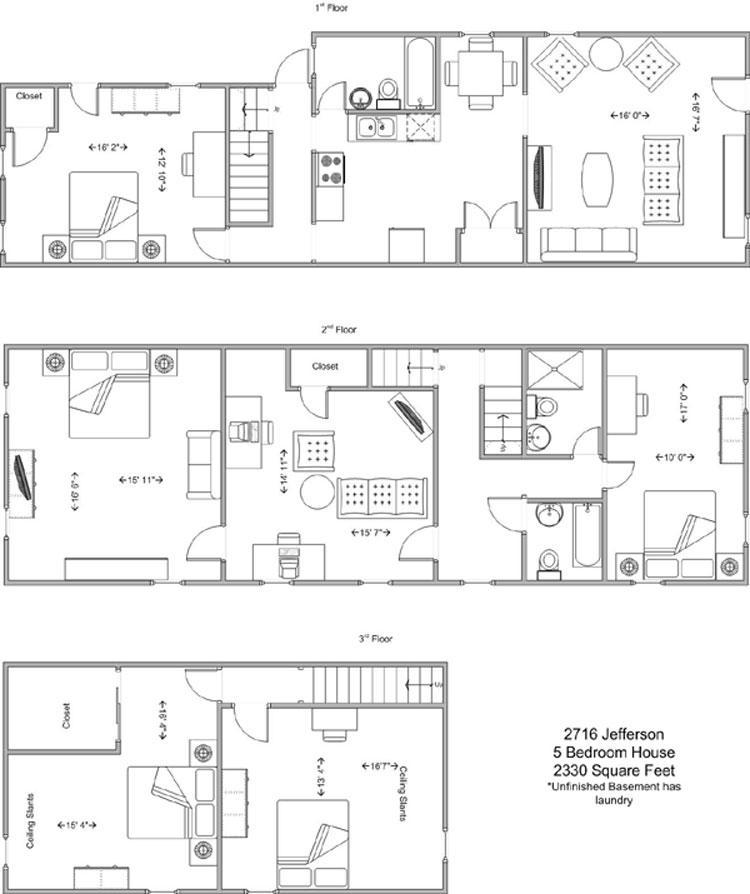 5 Bedrooms 3 Bathrooms House for rent at 2716 Jefferson in Cincinnati, OH