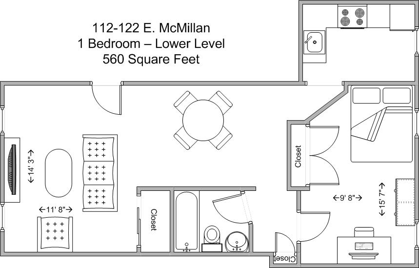 1 Bedroom 1 Bathroom Apartment for rent at 112-122 E Mcmillan in Cincinnati, OH