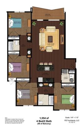 4 Bedrooms 2 Bathrooms Apartment for rent at Vine Street Flats in Cincinnati, OH