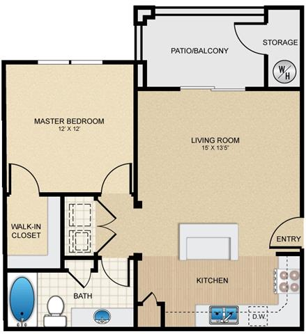 1 Bedroom 1 Bathroom Apartment for rent at Mission Hills in San Antonio, TX