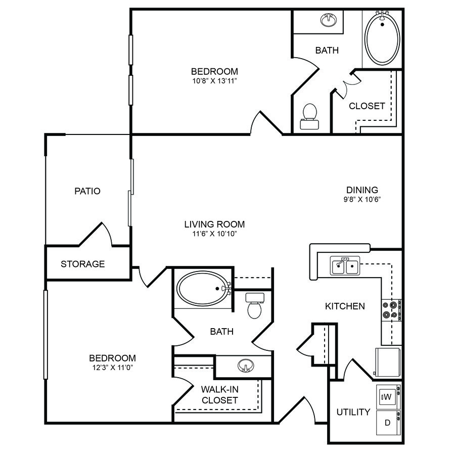 2 Bedrooms 2 Bathrooms Apartment for rent at Boulders Apartments in Hurst, TX