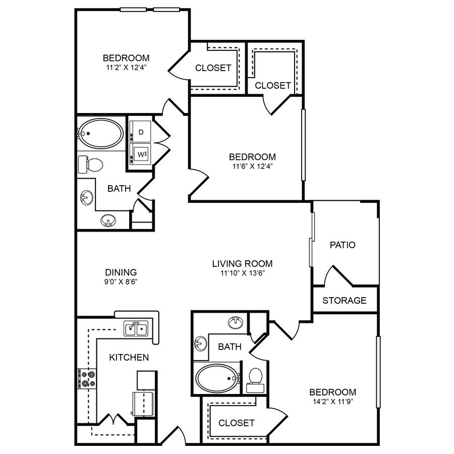 3 Bedrooms 2 Bathrooms Apartment for rent at Boulders Apartments in Hurst, TX