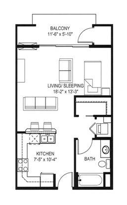 Studio 1 Bathroom Apartment for rent at Hawk's Landing in Verona, WI