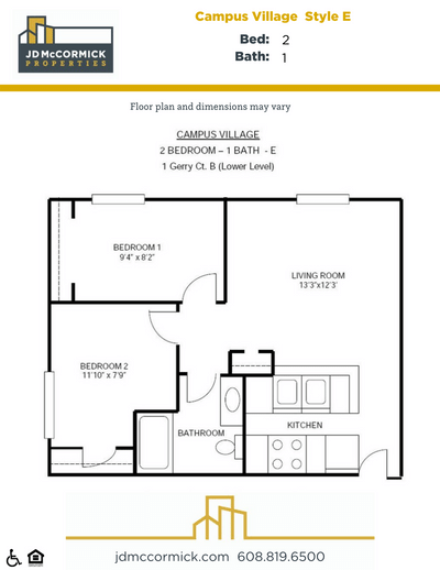 2 Bedrooms 1 Bathroom Apartment for rent at Campus Village in Madison, WI