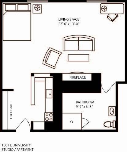 Studio 1 Bathroom Apartment for rent at 1001 East University in Ann Arbor, MI
