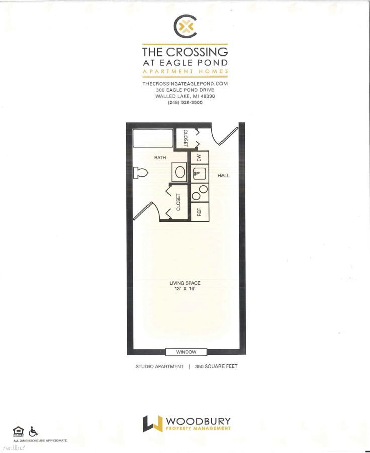 Studio 1 Bathroom Apartment for rent at The Crossing At Eagle Pond in Commerce Township, MI