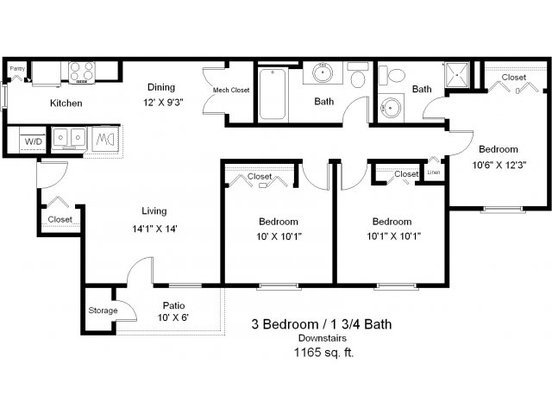 3 Bedrooms 2 Bathrooms Apartment for rent at Copper Gate in Lafayette, IN