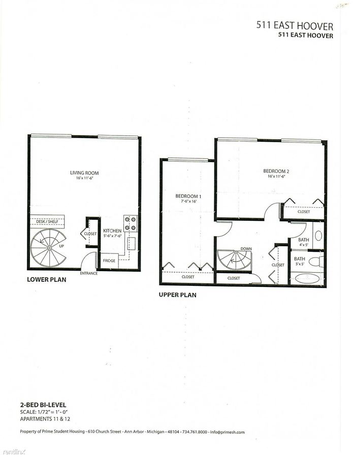 2 Bedrooms 1 Bathroom Apartment for rent at 511 E Hoover Ave in Ann Arbor, MI