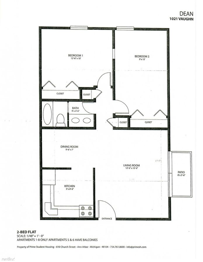 2 Bedrooms 1 Bathroom Apartment for rent at The Dean in Ann Arbor, MI