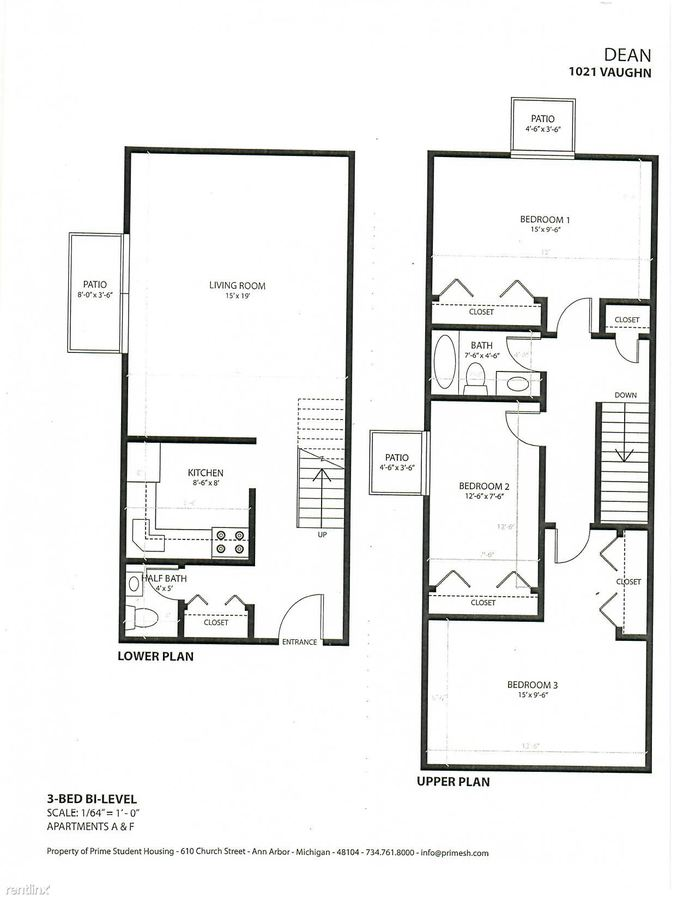 3 Bedrooms 1 Bathroom Apartment for rent at The Dean in Ann Arbor, MI