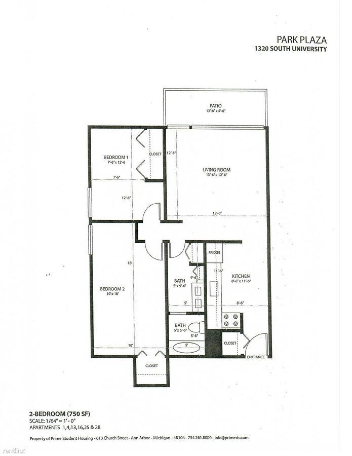 2 Bedrooms 1 Bathroom Apartment for rent at Park Plaza in Ann Arbor, MI