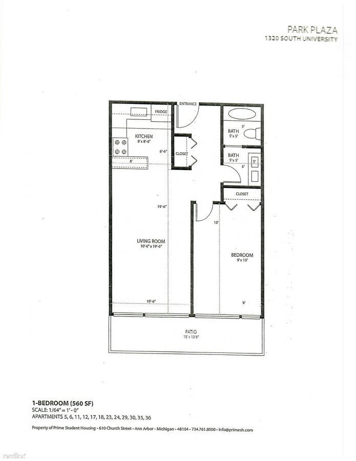 1 Bedroom 1 Bathroom Apartment for rent at Park Plaza in Ann Arbor, MI