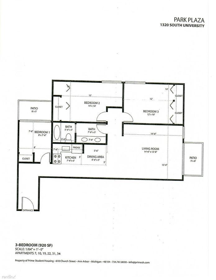 3 Bedrooms 1 Bathroom Apartment for rent at Park Plaza in Ann Arbor, MI