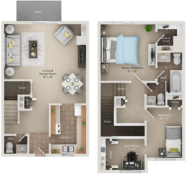 2 Bedrooms 1 Bathroom Apartment for rent at The View Apartments & Townhomes in Portage, MI