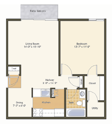 1 Bedroom 1 Bathroom Apartment for rent at Pavilion Apartments in St Louis, MO