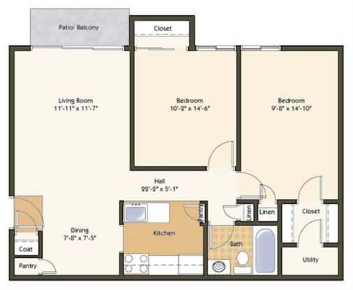 2 Bedrooms 1 Bathroom Apartment for rent at Pavilion Apartments in St Louis, MO