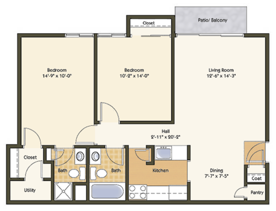 2 Bedrooms 2 Bathrooms Apartment for rent at Pavilion Apartments in St Louis, MO