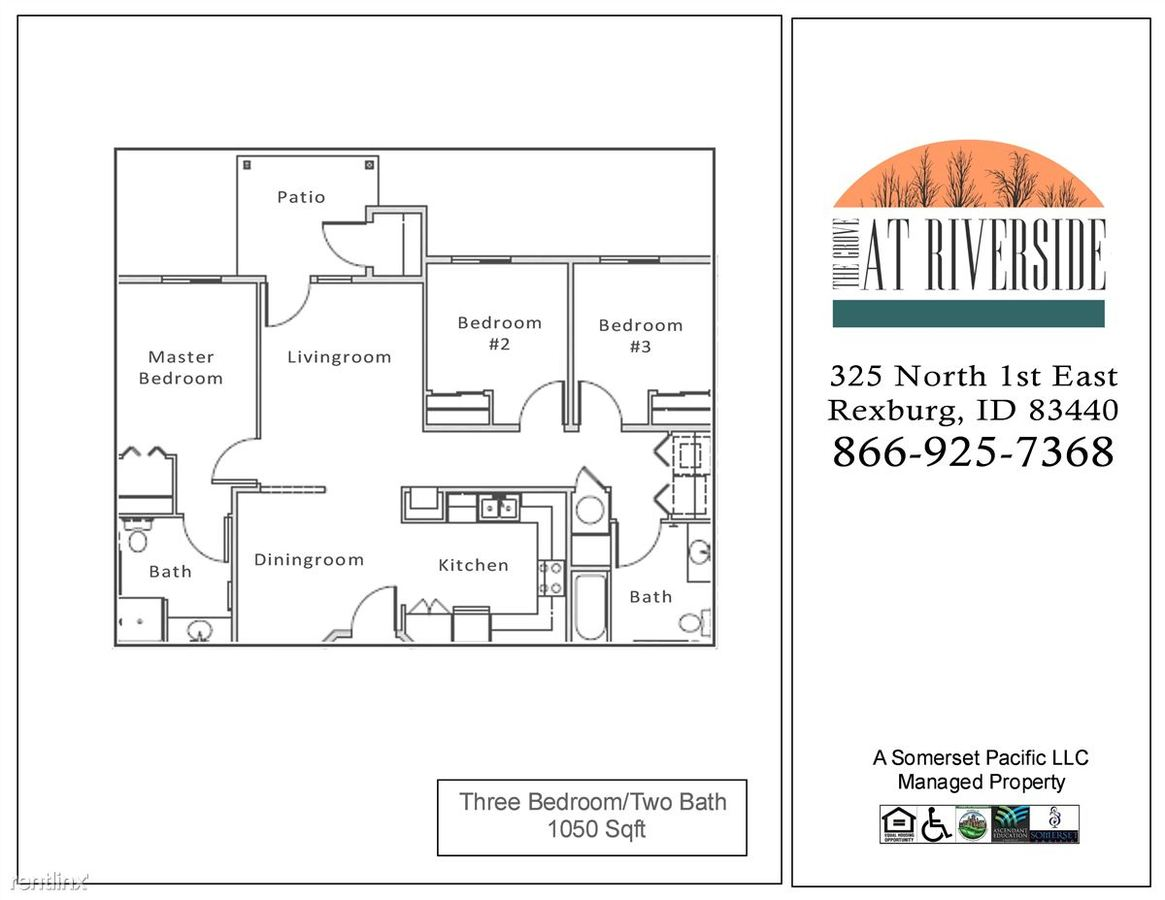 3 Bedrooms 2 Bathrooms Apartment for rent at The Grove At Riverside Apartments in Rexburg, ID