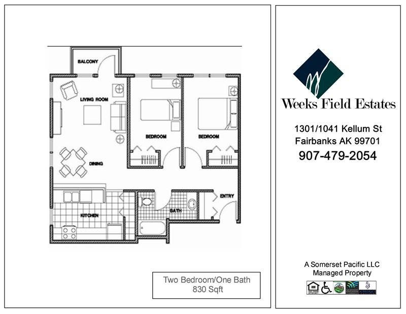 2 Bedrooms 1 Bathroom Apartment for rent at Weeks Field Estates I in Fairbanks, AK