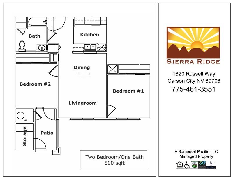 2 Bedrooms 1 Bathroom Apartment for rent at Sierra Ridge Apartments in Carson City, NV