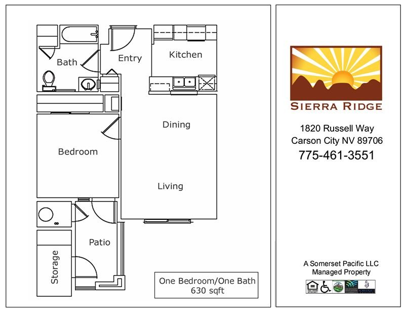 1 Bedroom 1 Bathroom Apartment for rent at Sierra Ridge Apartments in Carson City, NV