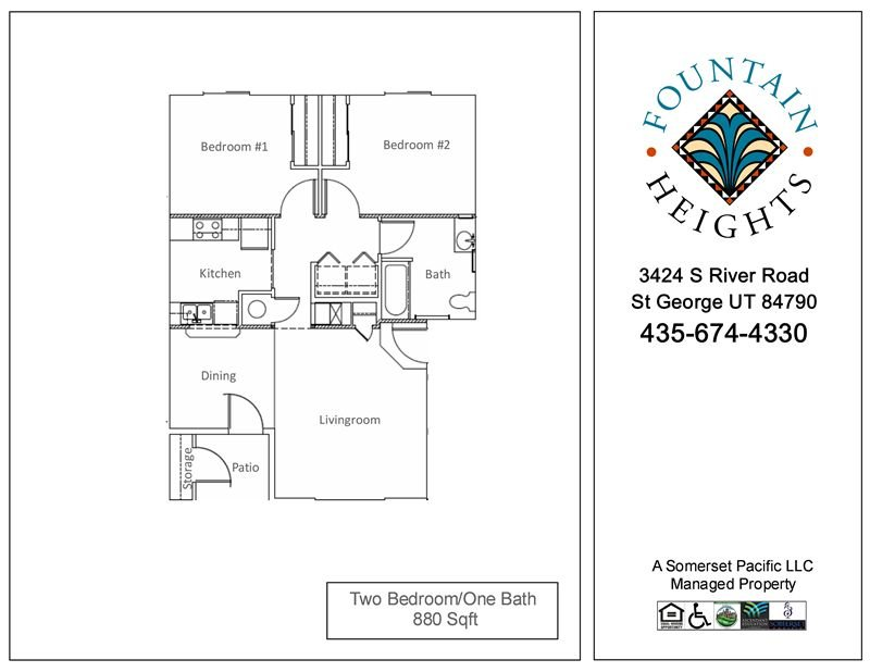 2 Bedrooms 1 Bathroom Apartment for rent at Fountain Heights I & Ii Apartments in St George, UT