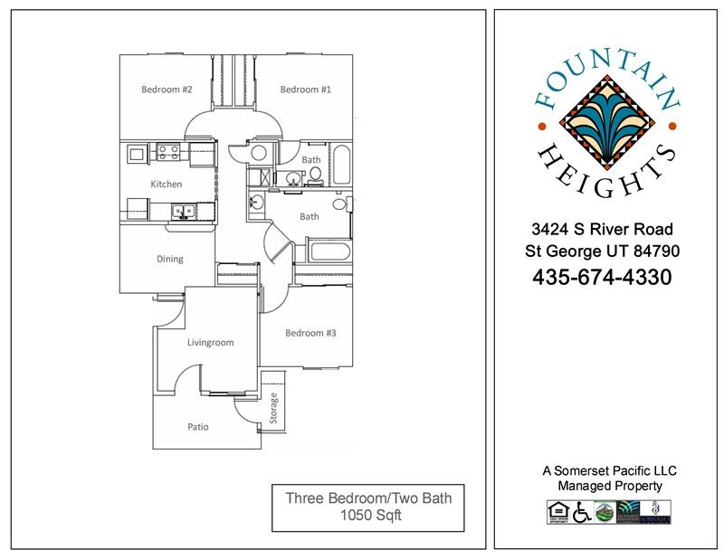 3 Bedrooms 2 Bathrooms Apartment for rent at Fountain Heights I & Ii Apartments in St George, UT
