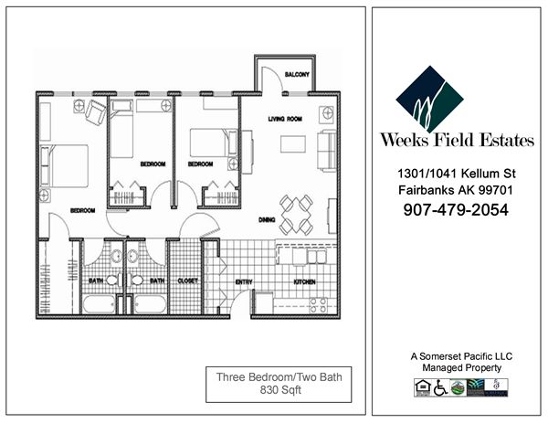 3 Bedrooms 2 Bathrooms Apartment for rent at Weeks Field Estates Ii in Fairbanks, AK