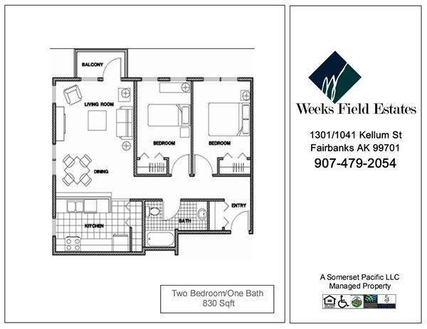 2 Bedrooms 1 Bathroom Apartment for rent at Weeks Field Estates Ii in Fairbanks, AK