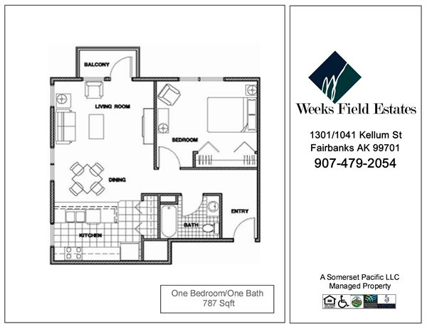 1 Bedroom 1 Bathroom Apartment for rent at Weeks Field Estates I in Fairbanks, AK