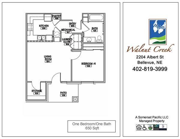 1 Bedroom 1 Bathroom Apartment for rent at Walnut Creek Apts in Bellevue, NE