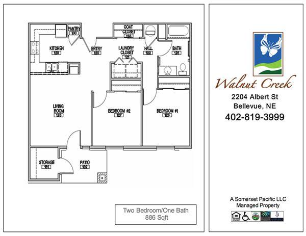 2 Bedrooms 1 Bathroom Apartment for rent at Walnut Creek Apts in Bellevue, NE