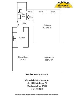 1 Bedroom 1 Bathroom Apartment for rent at Magnolia Pointe Apartments in Cincinnati, OH