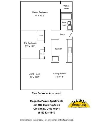 2 Bedrooms 1 Bathroom Apartment for rent at Magnolia Pointe Apartments in Cincinnati, OH