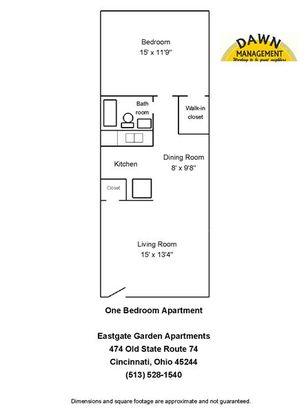 1 Bedroom 1 Bathroom Apartment for rent at Eastgate Garden Apartments in Cincinnati, OH