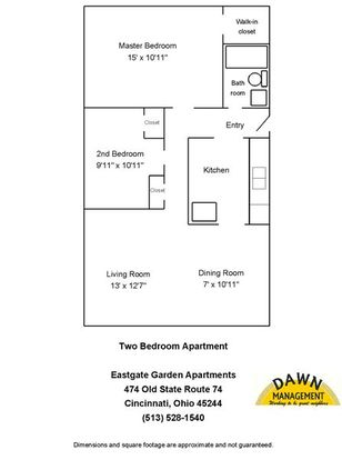2 Bedrooms 1 Bathroom Apartment for rent at Eastgate Garden Apartments in Cincinnati, OH