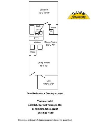 1 Bedroom 1 Bathroom Apartment for rent at Timbercreek I Apartments in Cincinnati, OH