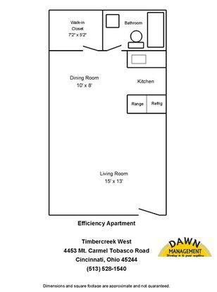 Studio 1 Bathroom Apartment for rent at Timbercreek Ii Apartments in Cincinnati, OH