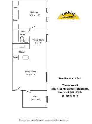 1 Bedroom 1 Bathroom Apartment for rent at Timbercreek Ii Apartments in Cincinnati, OH