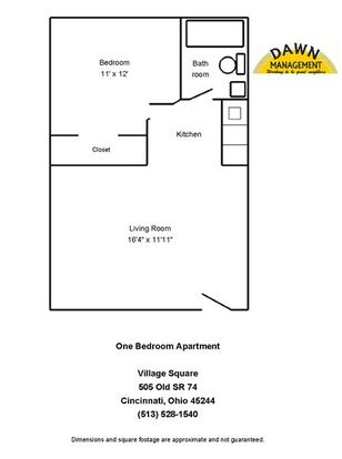 1 Bedroom 1 Bathroom Apartment for rent at Village Square Apartments in Cincinnati, OH